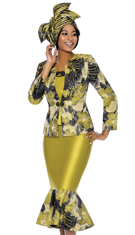 Susanna 3883-GB ( 3pc Novelty Suit For Church With Printed Design Peplum Skirt )