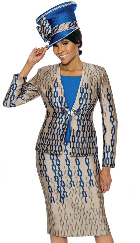 Susanna 3908-TR ( 3pc Silk Womens Sunday Suit With Chain Link Pattern )