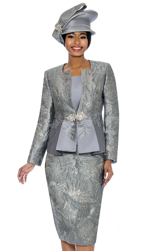 Susanna 3858-PE ( 3pc Brocade Womens Church Suit )