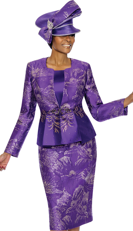 Susanna 3858-PU ( 3pc Brocade Womens Church Suit )