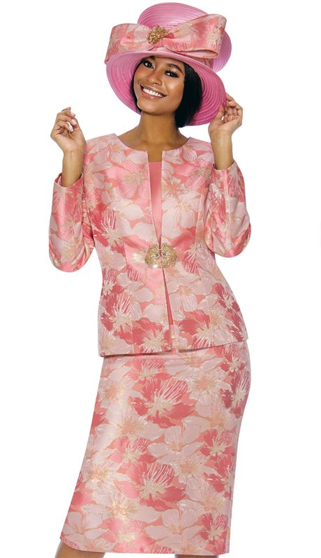 Susanna 3856-CL ( 3pc Novelty Ladies Church Suit With Floral Pattern )
