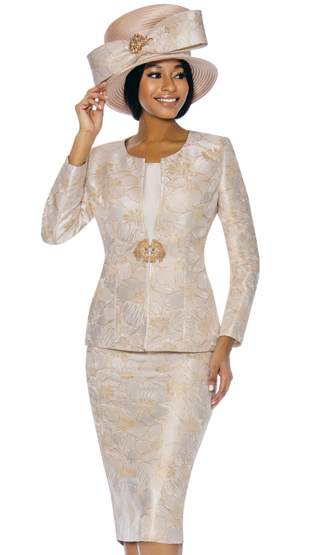 Susanna 3856-CH ( 3pc Novelty Ladies Church Suit With Floral Pattern )
