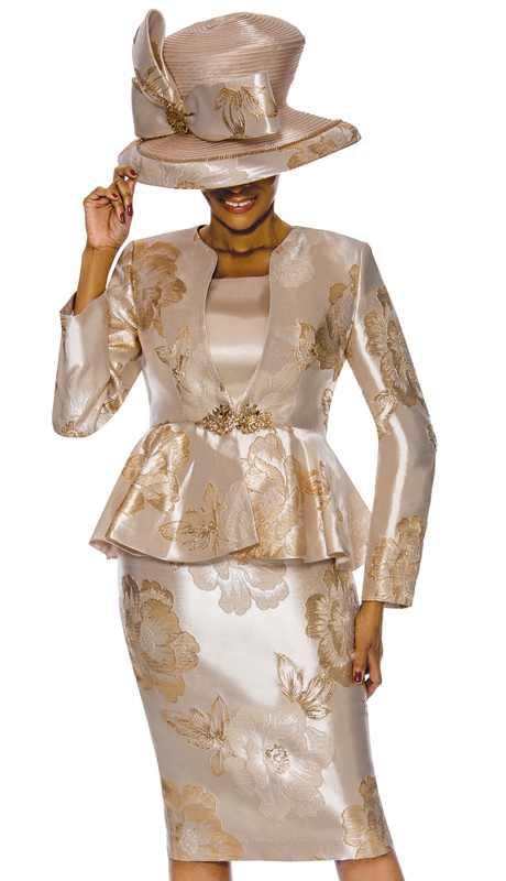 Susanna 3845-GO ( 3pc Novelty Womens Sunday Suit With Floral Pattern And Peplum Jacket )