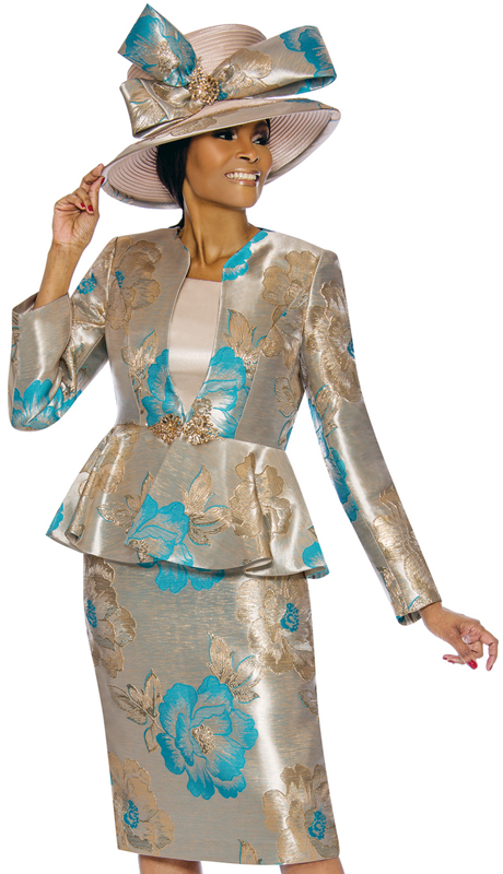 Susanna 3845-TG ( 3pc Novelty Womens Sunday Suit With Floral Pattern And Peplum Jacket )