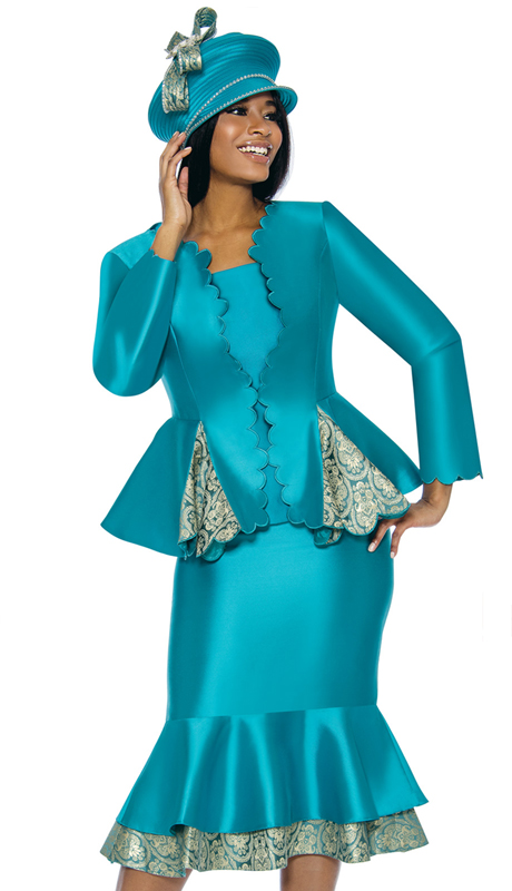Susanna 3906-TE ( 3pc Silk Womens Church Suit With Peplum Jacket )