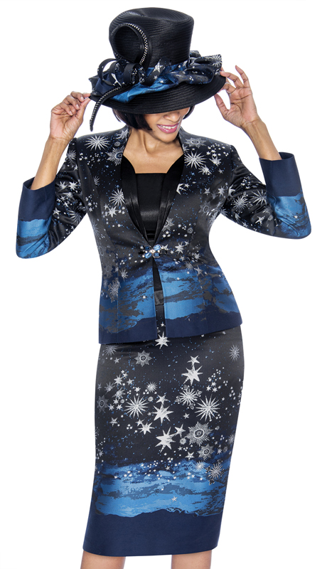 Susanna 3881-BM-S ( 3pc Novelty Ladies Sunday Suit With Starry Sky Print Design )