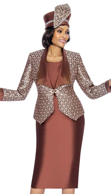 Susanna 3874-BR-S ( 3pc Shantung With Brocade First Lady Suit With Geometric Print Design )