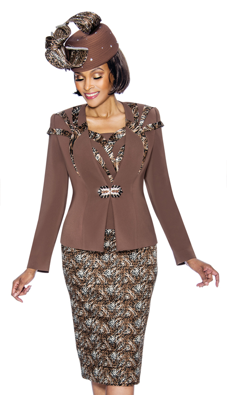 Susanna 3873-LE-S ( 3pc PeachSkin With Novelty Womens Church Suit With Leopard Printed Design )