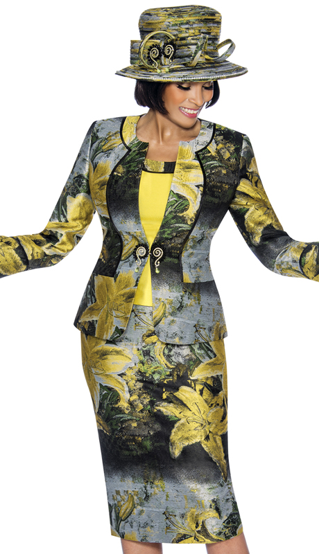 Susanna 3871-CP ( 3pc Novelty Ladies Church Suit With Floral Printed Skirt And Split Cuffs )