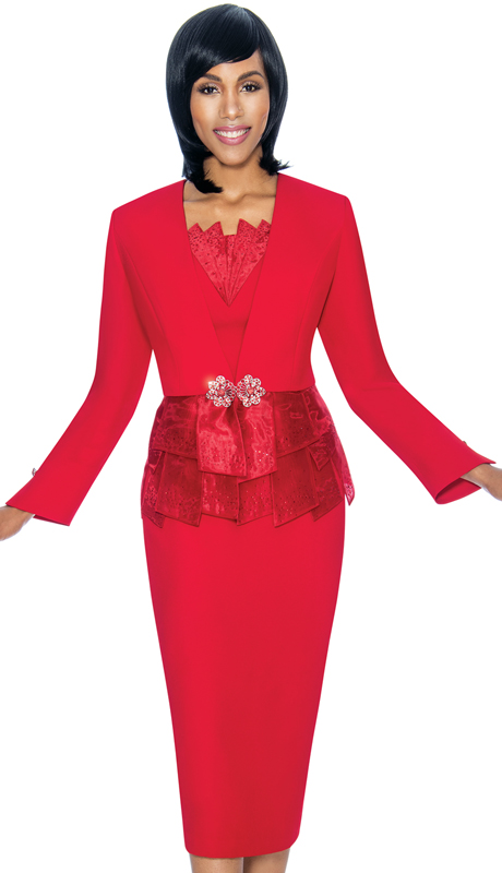 Susanna 3870-RE ( 3pc PeachSkin Ladies Sunday Suit With Paneled Peplum Design Jacket )