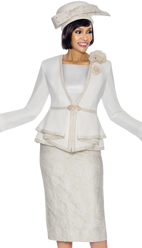 Susanna 3868-IG ( 3pc Silk With Brocade Womens Church Suit With Peplum Jacket And Fabric Flowers )