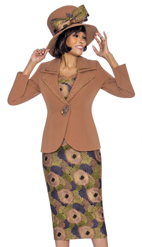 Susanna 3867-MM ( 3pc PeachSkin With Novelty Suit For Church With Layered Lapel Jacket )