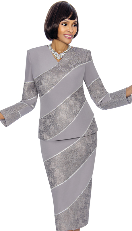 Susanna 3866-PL ( 2pc PeachSkin With Brocade Ladies Sunday Suit With Vee Neckline And Diagonal Stripe Design )