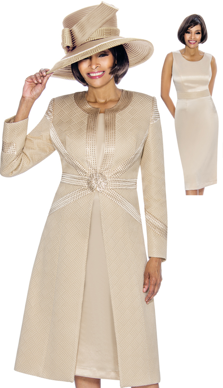 Susanna 3865-CH-S ( 2pc Brocade Ladies Church Dress With Long Jacket )