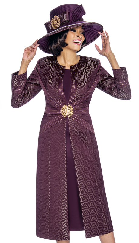 Susanna 3865-PL ( 2pc Brocade Ladies Church Suit With Long Jacket )