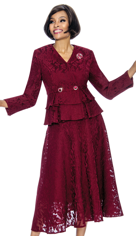 Susanna 3860-WI ( 2pc Organza With Lace Womens Church Suit With Layered Peplum Jacket )