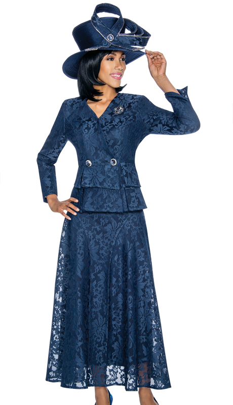 Susanna 3860-NA ( 2pc Organza With Lace Womens Church Suit With Layered Peplum Jacket )