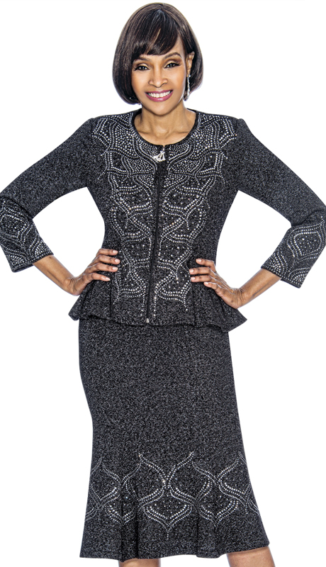 Susanna 3879-MB ( 2pc Knit Womens Sunday Suit With Flared Skirt And Peplum Jacket )