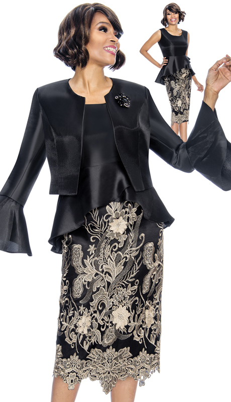 Susanna 3859-BG ( 2pc Shimmer Shantung With Lace First Lady Suit With Peplum Dress And Bell Cuff Bolero Jacket )