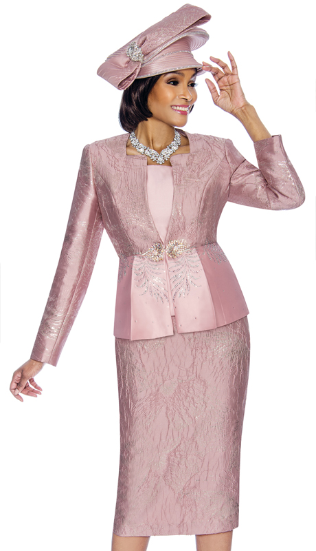 Susanna 3858-DR ( 3pc Ladies Church Suit With Textured Pattern Skirt )