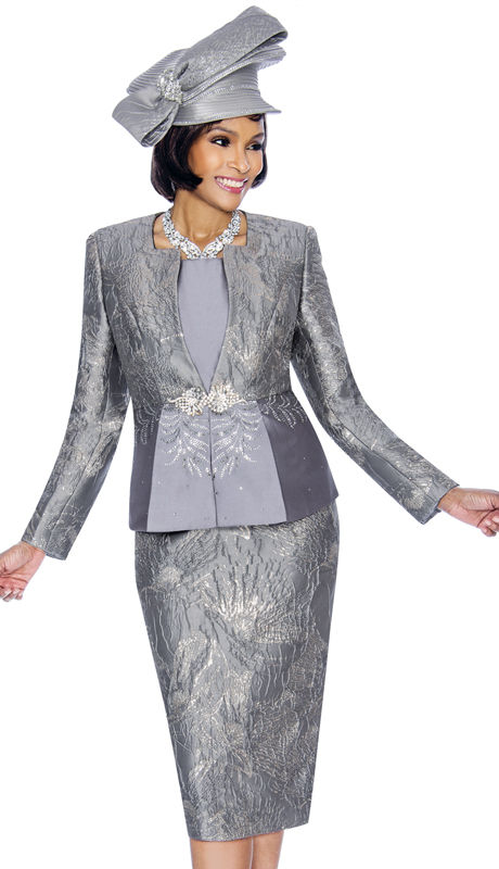 Susanna 3858-PE ( 3pc Ladies Church Suit With Textured Pattern Skirt )