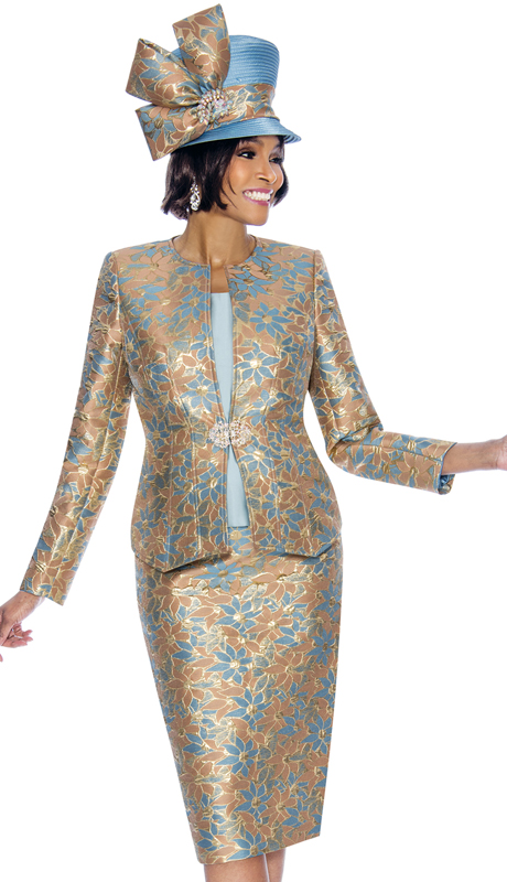 Susanna 3857-BG ( 3pc Brocade Womens Sunday Suit With Floral Pattern )