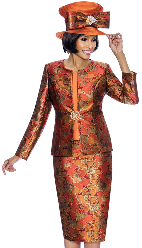 Susanna 3856-RU ( 3pc Novelty Ladies Church Suit With Floral Pattern )