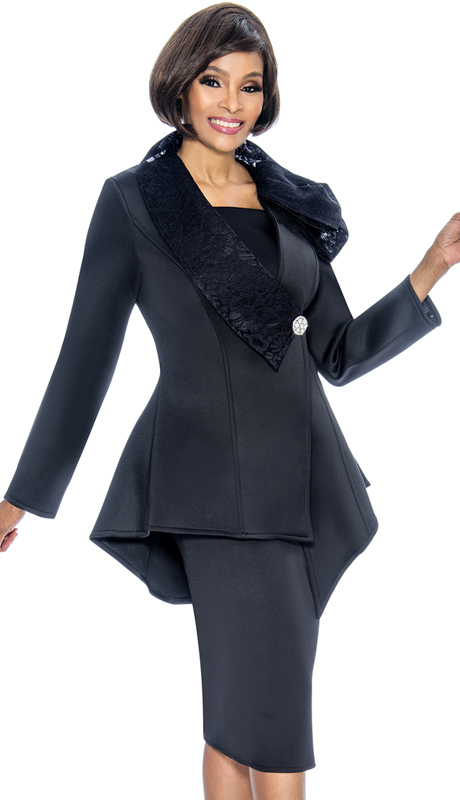 Susanna 3849-BK ( 3pc Scuba Knit Womens Sunday Suit With Asymmetric Peplum Jacket )