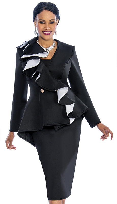 Susanna 3847-BW ( 2pc Scuba Knit Womens Sunday Suit With Ruffle Design Peplum Jacket )