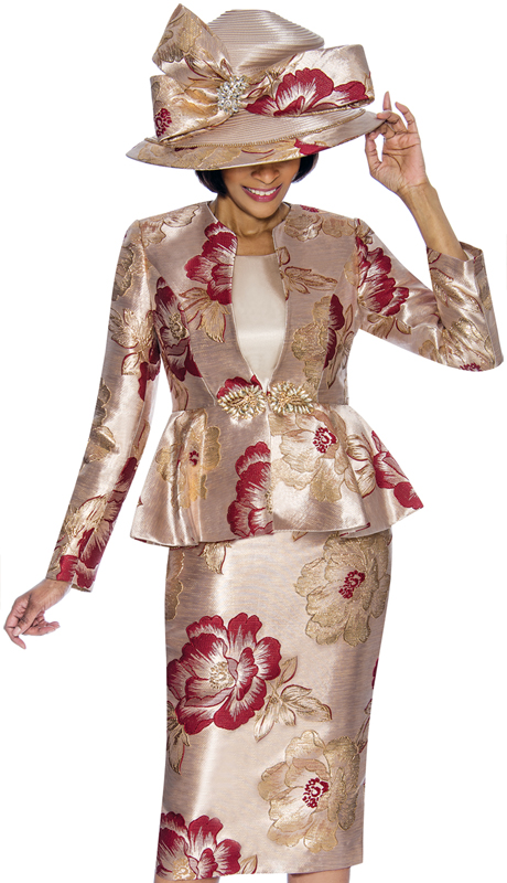 Susanna 3845-BU ( 3pc Novelty Womens Sunday Suit With Floral Pattern And Peplum Jacket )
