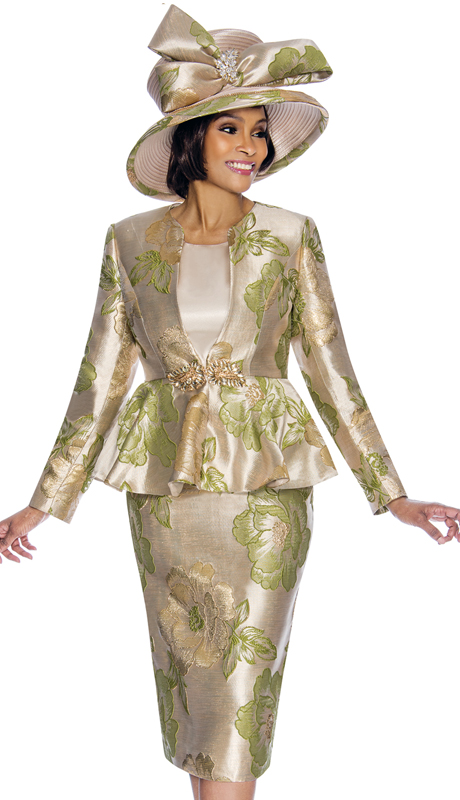 Susanna 3845-GR ( 3pc Novelty Womens Sunday Suit With Floral Pattern And Peplum Jacket )