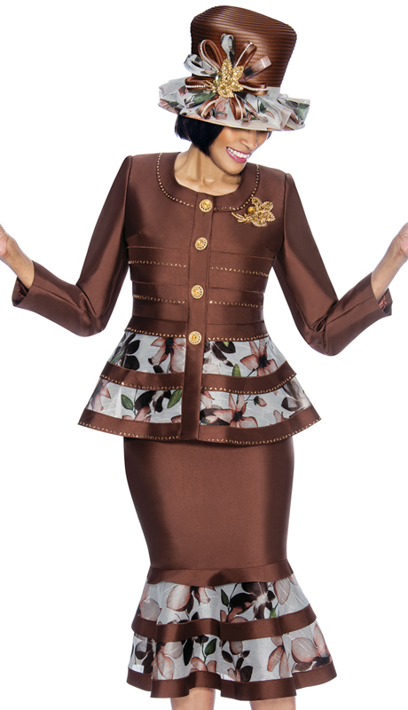Susanna 3841-BR ( 2pcSilk With Novelty Womens Sunday Suit With Floral Pattern Flounce Skirt And Peplum Jacket )