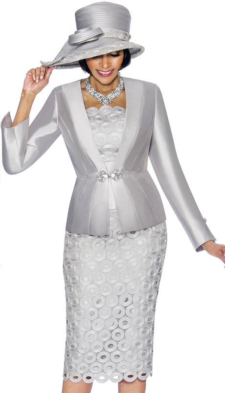 Susanna 3793-SI ( 3pc Silk With Lace Womens Sunday Suit With Circle Pattern Skirt And Solid Jacket )