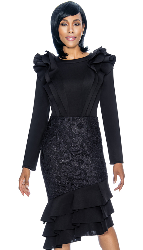 Susanna 3877-BK ( 1pc Scuba Knit With Lace Ladies Church Dress With Layered Flounce Ruffle Design )