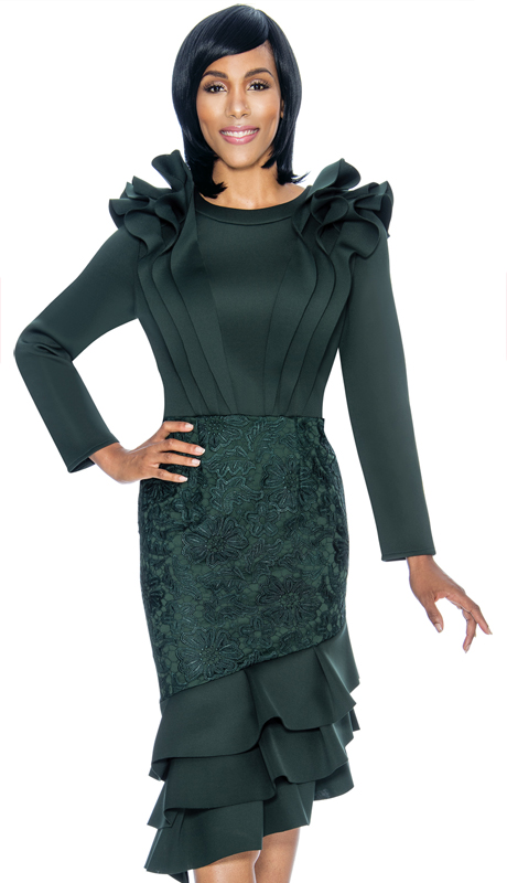 Susanna 3877-HU-S ( 1pc Scuba Knit With Lace Ladies Church Dress With Layered Flounce Ruffle Design )