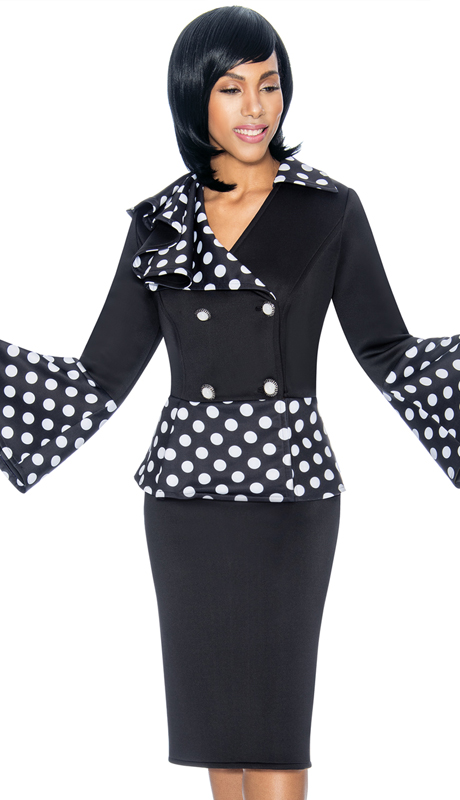 Susanna 3876-BW ( 2pc Scuba Knit Womens Church Suit With Double Breasted Bell Cuff Polka Dot Design Jacket )