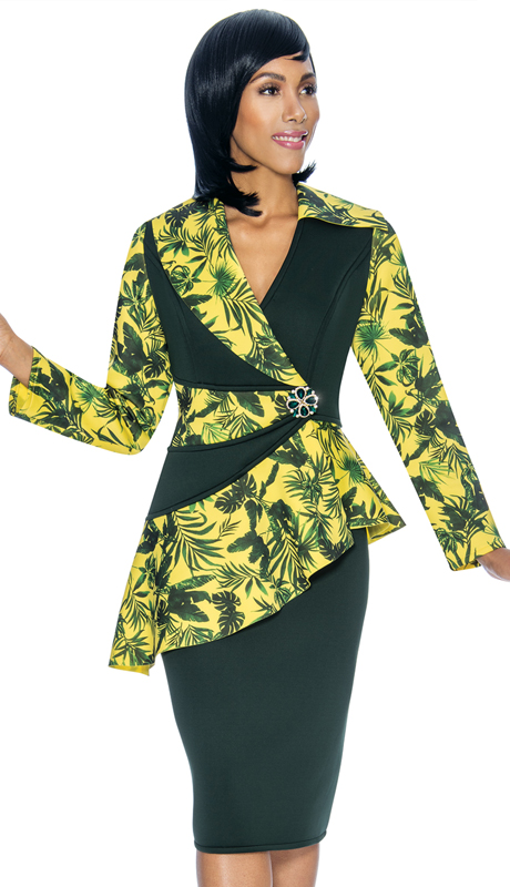 Susanna 3875-HP ( 2pc Scuba Knit First Lady Suit With Asymmetric Style Peplum Jacket )