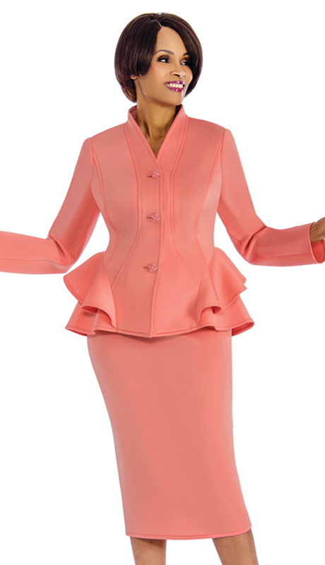Susanna 3848 ( 2pc Scuba Knit Church Suit With Ruffle Trim )