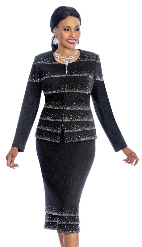 Susanna 3851 ( 2pc Knit Church Suit With Fancy Rhinestone Trim )