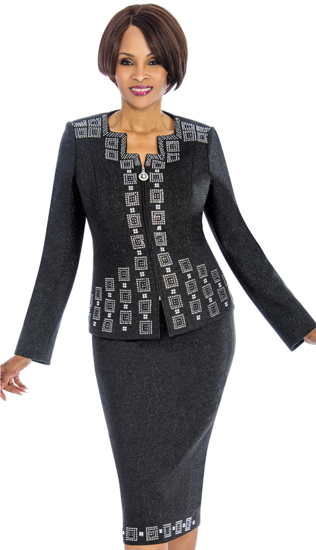 Susanna 3852 ( 2pc Knit Church Suit With Fancy Rhinestone Trim )