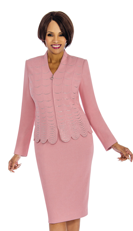 Susanna 3853 ( 2pc Knit Church Suit With Fancy Rhinestone Trim )