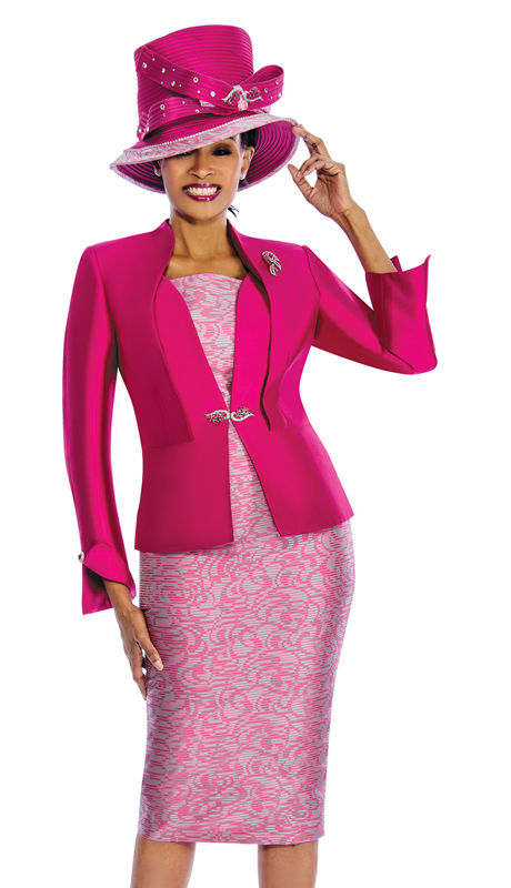 Susanna 3833 ( 3pc Silk Look Ladies Suit With Two Tone Design )