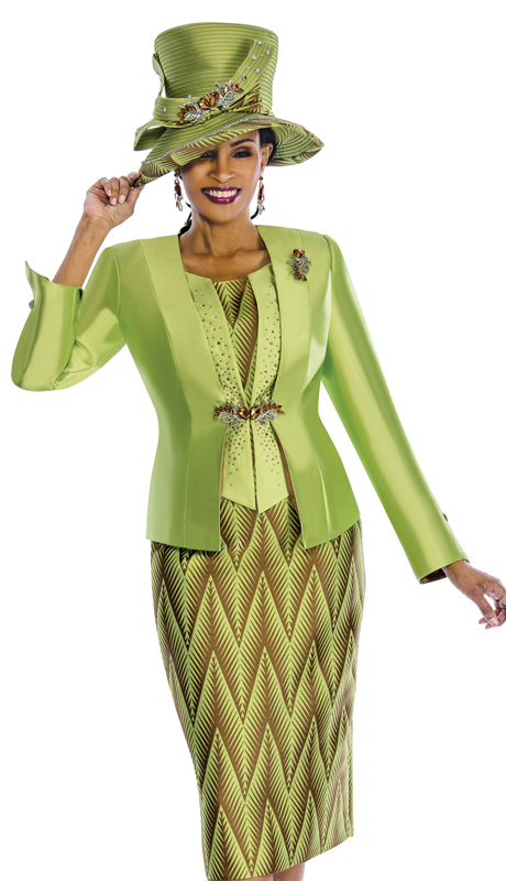 Susanna 3834 ( 3pc Silk Womens Church Suit With Two Tone Pattern And Colored Stones )