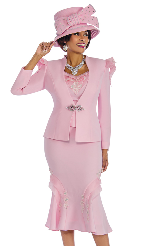 Susanna 3836-P ( 3pc Exclusive Peachskin Church Suit With Unique Organza Trim )