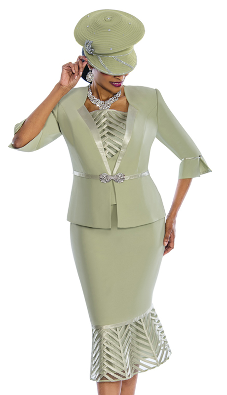 Susanna 3837-S ( 3pc Exclusive Peachskin Embellished Suit With Fancy Trims )