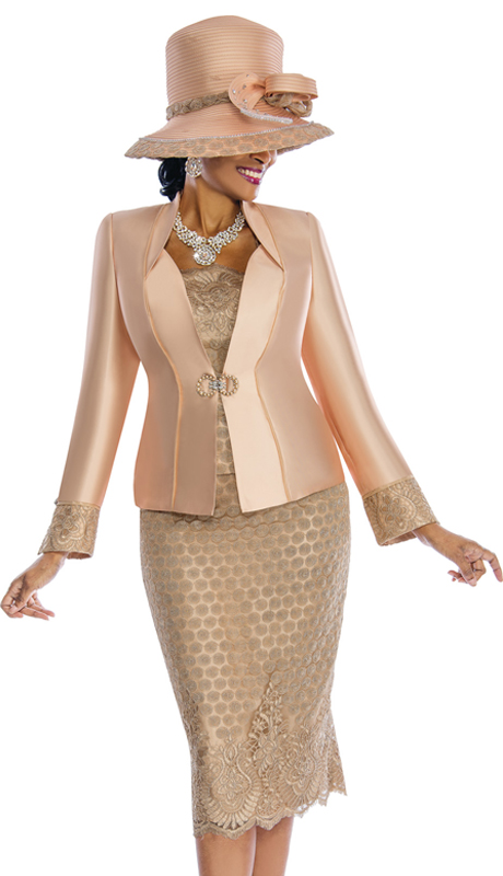 Susanna 3838 ( 3pc Silk First Lady Suit With Lace Accents )