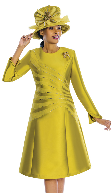 Susanna 3840 ( 1pc Silk Church Dress With Beaded Trim And Fancy Broach )