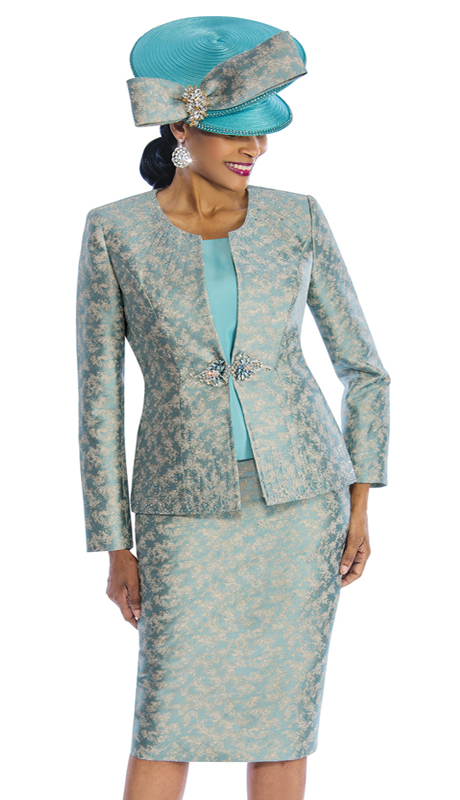 Susanna 3842 ( 3pc Brocade First Ladies Suit With Ornate Clasp )