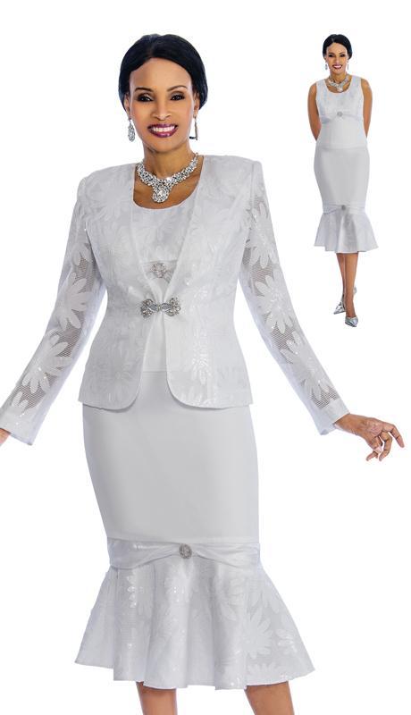Susanna 3832 ( 3pc Silk Church Suit Novelty Design And Flare Skirt )