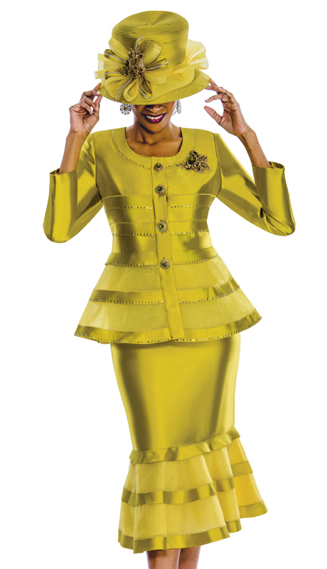 Susanna 3776-C  ( 2pc Silk Church Suit With Fancy Broach And Beaded Trims )